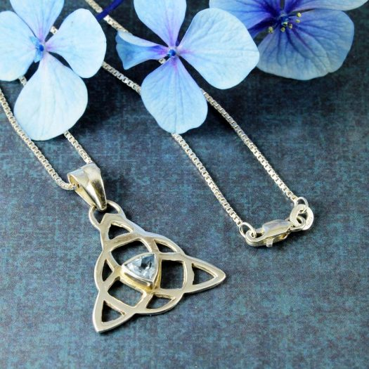 Blue Topaz Celtic Triangle N-0224-a