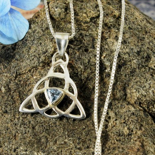 Blue Topaz Celtic Triangle N-0224-b