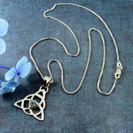 Blue Topaz Celtic Triangle N-0224-c