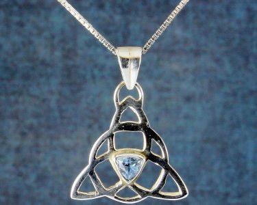 Blue Topaz Celtic Triangle N-0224-d