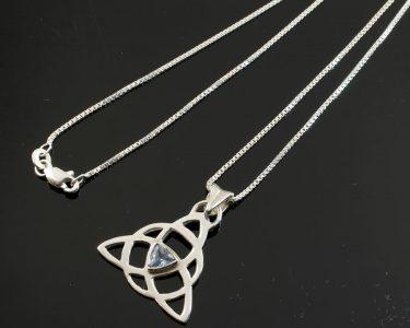 Blue Topaz Celtic Triangle N-0224-h