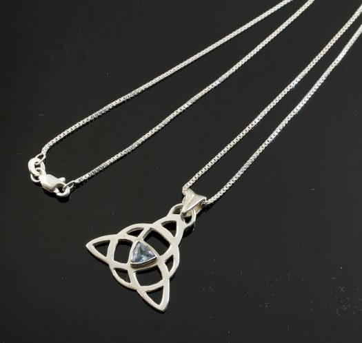 Blue Topaz Celtic Triangle N-0224-h