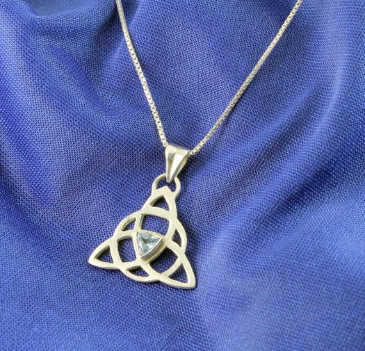 Blue Topaz Celtic Triangle N-0224-i