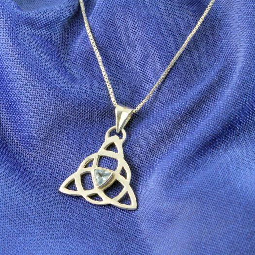Blue Topaz Celtic Triangle N-0224-i
