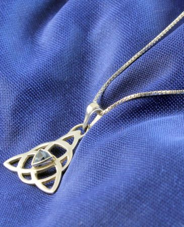 Blue Topaz Celtic Triangle N-0224-j