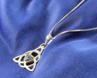 Blue Topaz Celtic Triangle N-0224-j