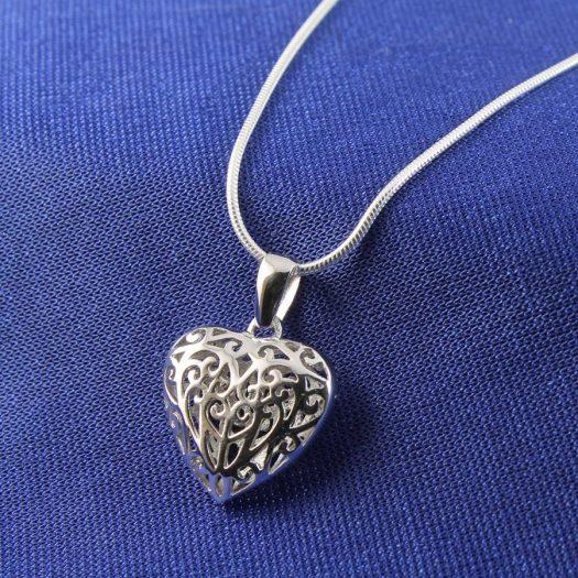 Filigree Openwork Heart Pendant N-0273-f