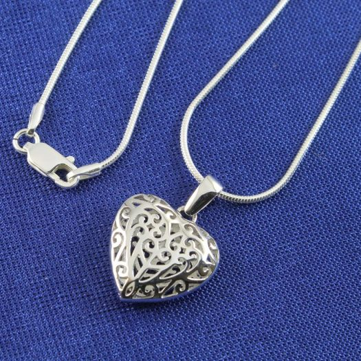 Filigree Openwork Heart Pendant N-0273-h