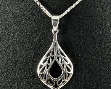 Filigree Teardrop Pendant Necklace N-0272-e