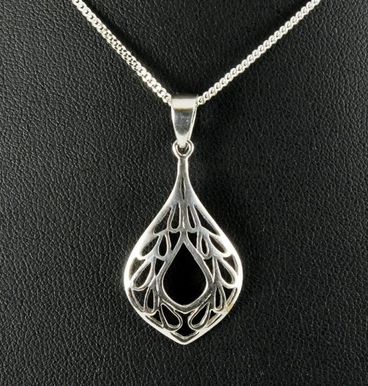 Filigree Teardrop Pendant Necklace N-0272-e