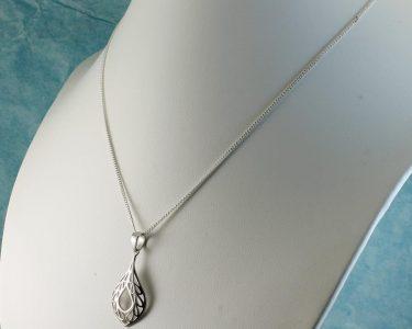 Filigree Teardrop Pendant Necklace N-0272-g