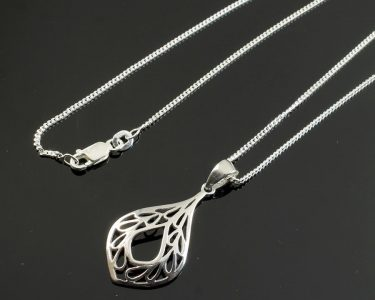 Filigree Teardrop Pendant Necklace N-0272-j