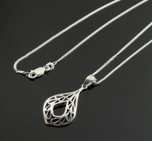 Filigree Teardrop Pendant Necklace N-0272-j