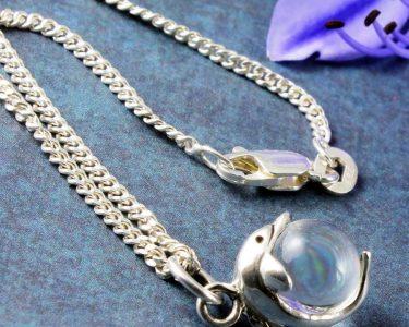 Silver Dolphin Ball Pendant N-0231-b