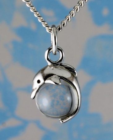Silver Dolphin Ball Pendant N-0231-c