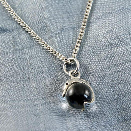 Silver Dolphin Ball Pendant N-0231-e