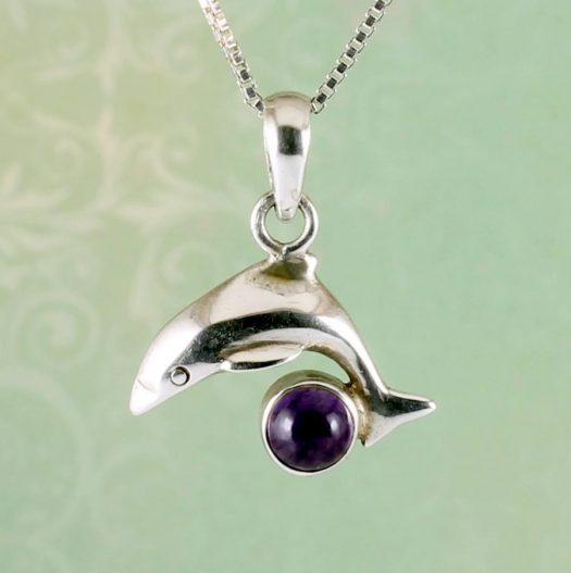 Amethyst Dolphin Pendant N-0193-b