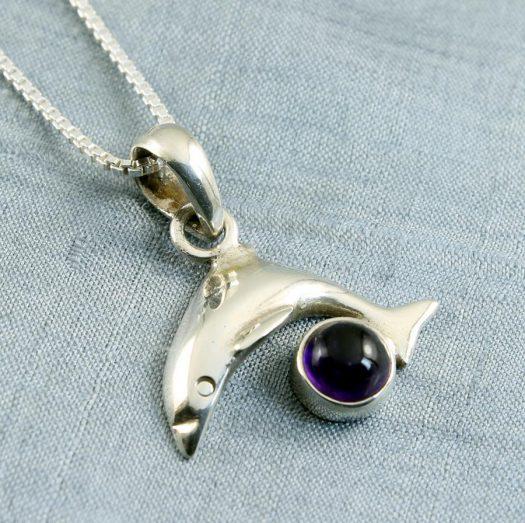 Amethyst Dolphin Pendant N-0193-i
