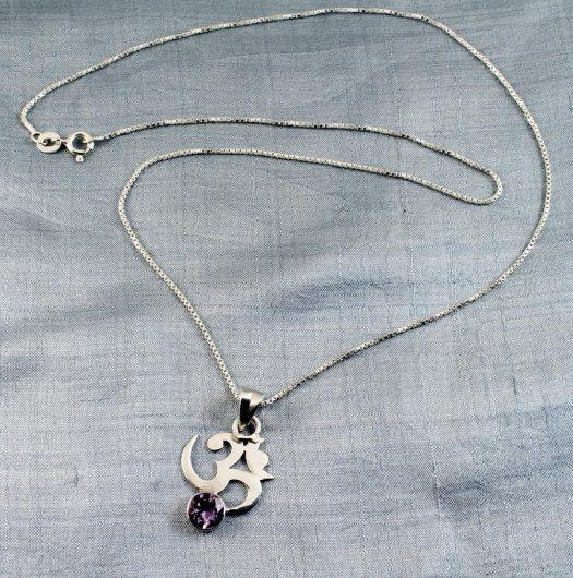 Om Symbol Silver Tourmaline N-0246-f
