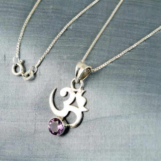 Om Symbol Silver Tourmaline N-0246-h