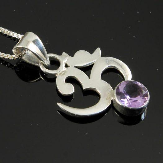 Om Symbol Silver Tourmaline N-0246-j