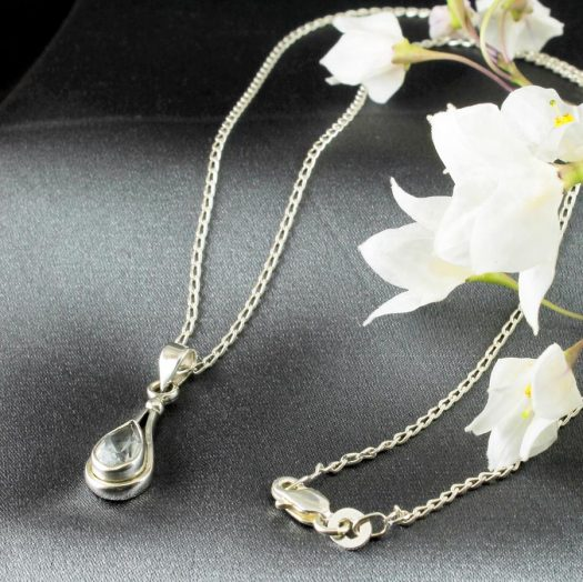 Blue Topaz Teardrop Necklace N-0242-c