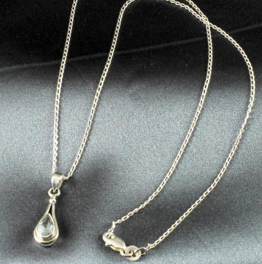 Blue Topaz Teardrop Necklace N-0242-d