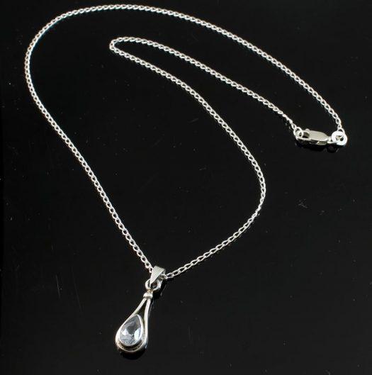 Blue Topaz Teardrop Necklace N-0242-e
