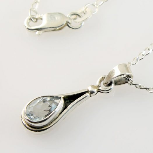 Blue Topaz Teardrop Necklace N-0242-j