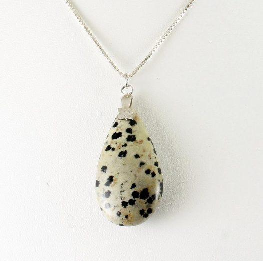 Dalmation Jasper Stone Pendant N-0197-b