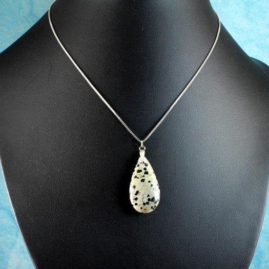 Dalmation Jasper Stone Pendant N-0197-c
