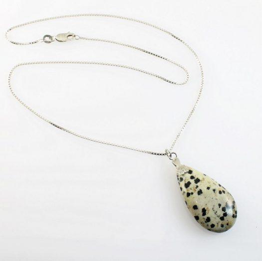 Dalmation Jasper Stone Pendant N-0197-f