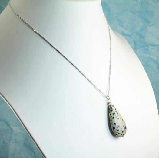 Dalmation Jasper Stone Pendant N-0197-i