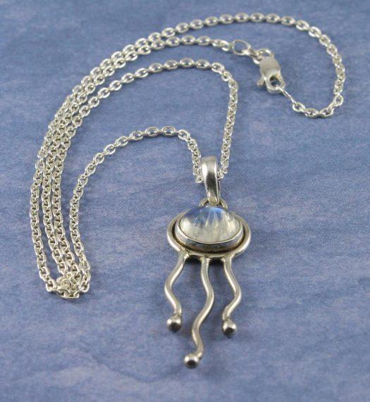 Moonstone Jellyfish Pendant N-0220-e