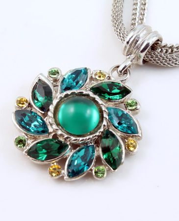 Emerald Green Rhinestone Necklace N-0103-a
