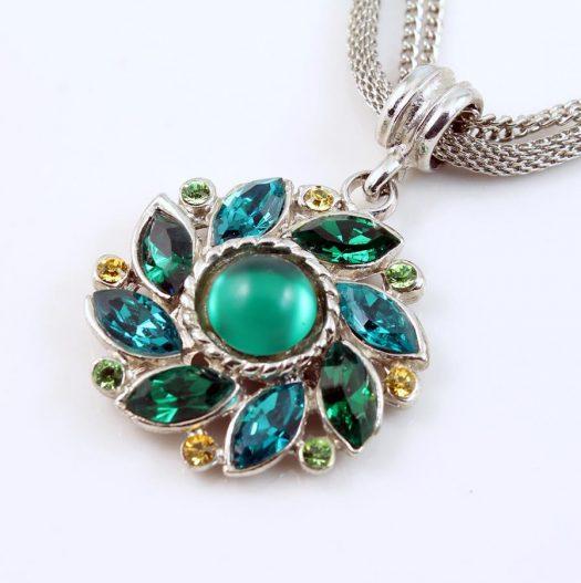 Emerald Green Rhinestone Necklace N-0103-a
