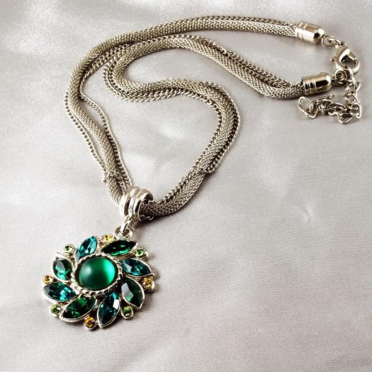 Emerald Green Rhinestone Necklace N-0103-b