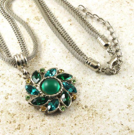 Emerald Green Rhinestone Necklace N-0103-d