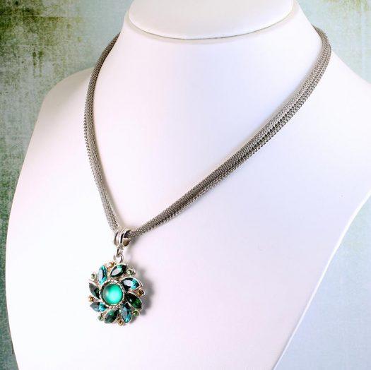 Emerald Green Rhinestone Necklace N-0103-e