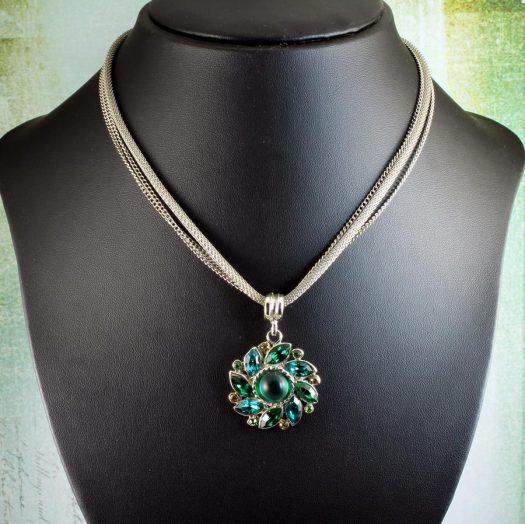 Emerald Green Rhinestone Necklace N-0103-g