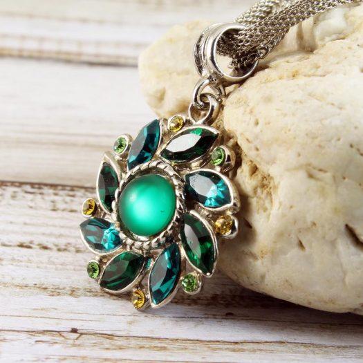 Emerald Green Rhinestone Necklace N-0103-h