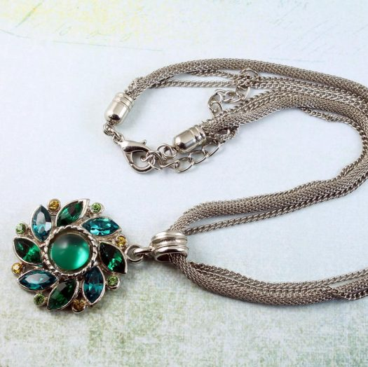 Emerald Green Rhinestone Necklace N-0103-i