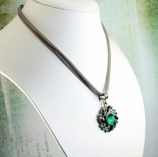Emerald Green Rhinestone Necklace N-0103-j