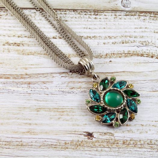Emerald Green Rhinestone Necklace N-0103-k