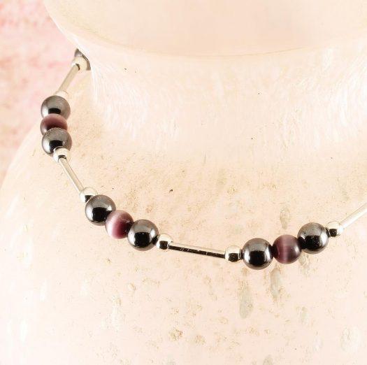 Hematite Cat's Eye Bracelet B-0102-g