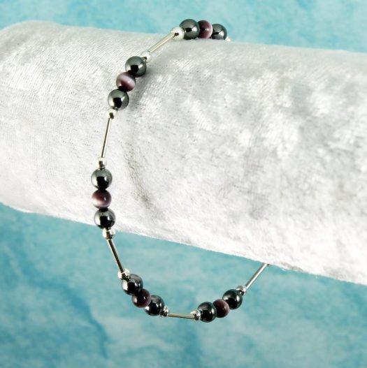 Hematite Cat's Eye Bracelet B-0102-i