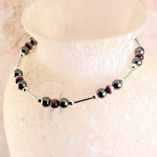Hematite Cat's Eye Bracelet B-0102-j