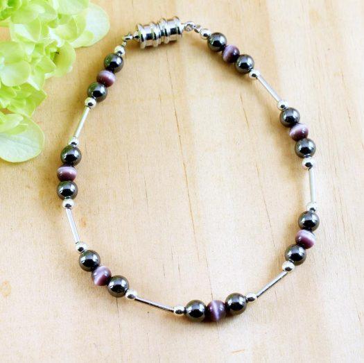 Hematite Cat's Eye Bracelet B-0102-k
