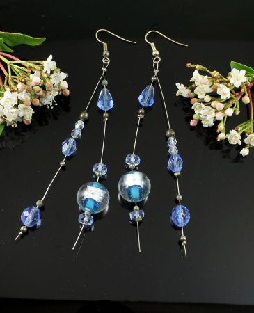 Blue Swarovski Crystal Earrings E-0104-a