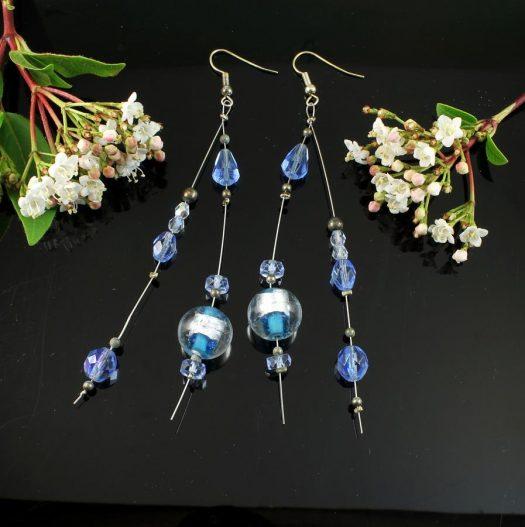 Blue Swarovski Crystal Earrings E-0104-a